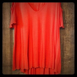 Free People Coral Open Shoulder Tunic
